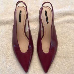 Zara burgundy leather heels